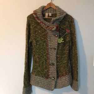 BKE Horn Tooth Toggle Button Cardigan